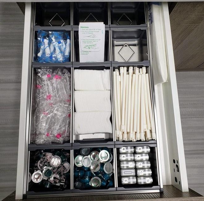An organized supply drawer for teeth cleaning in Urbandale and Johnston Iowa